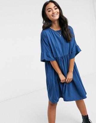 ASOS DESIGN oversized frill sleeve smock in blue