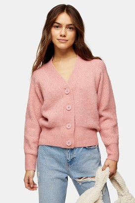 Topshop PETITE Pink Pointelle Knitted Cardigan