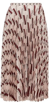 Valentino V-print Pleated Silk-satin Midi Skirt - Womens - Pink Multi