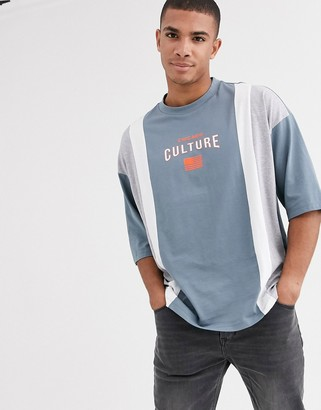 Asos DESIGN organic cotton oversized color block t-shirt with tipped neck and chest print