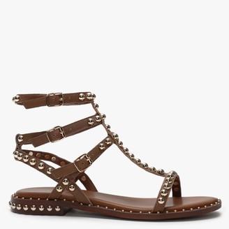 Daniel Eternal Tan Leather Studded Gladiator Sandals