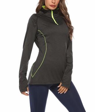 Equipment Women's Long Sleeve Half-Zip Shirts Running Top Quick Dry with Thumb Holes Black