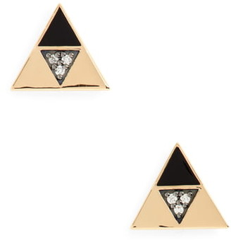 Harwell Godfrey Enamel & Diamond Triangle Stud Earrings