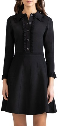 Shoshanna Victoria Button-Up Frill Dress