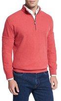 Peter Millar Melange Fleece Quarter-Zip Sweater, Redbreast