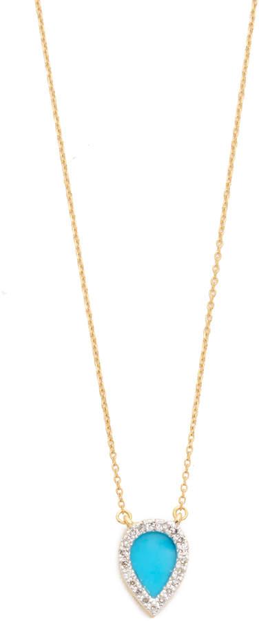 Adina 14k Gold Small Turquoise + Diamond Teardrop Pendant Necklace