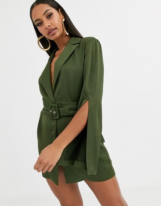 Asos Design DESIGN split sleeve wrap waist longline blazer-Green