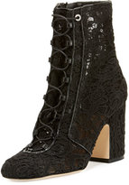 Laurence Dacade Milly Crocheted Lace-Up Ankle Boot, Black