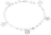 Sterling Silver Cutout Flower Charm Anklet