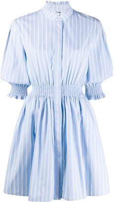 MSGM Ruched Waist Striped Shirt Dress