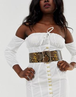 Asos Design DESIGN wide waist belt in snake print-Multi
