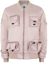 Topman Daily Paper Pale Pink Utility Pocket Bomber Jacket
