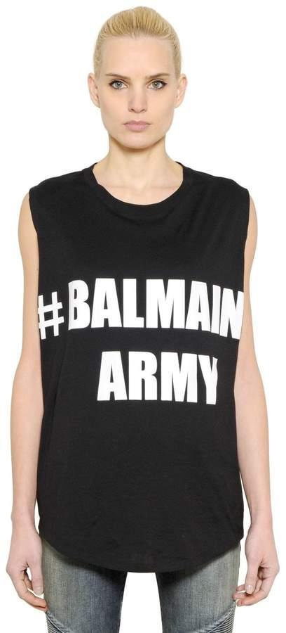 Balmain Army Jersey Sleeveless Top
