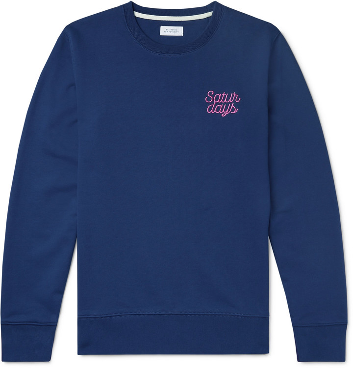 Saturdays NYC Bowery Logo-Embroidered Loopback Cotton-Jersey Sweatshirt - Men - Blue