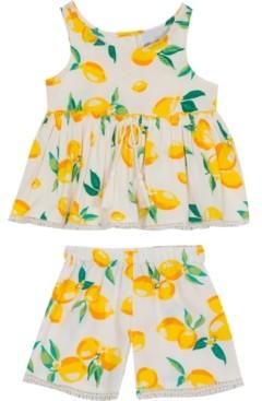 Rare Editions Baby Girls 2-Pc. Lemon-Print Woven Ruffle Top & Shorts Set
