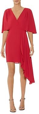 Halston Flowy Short Sleeve Faux-Wrap Dress