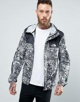 The North Face 1985 Mountain Jacket Hooded In White Stickerbomb Print