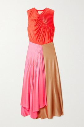 Roksanda Iris Asymmetric Pintucked Color-block Silk-satin Dress - Pink