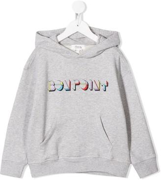 Bonpoint Long Sleeve Hooded Logo Sweater