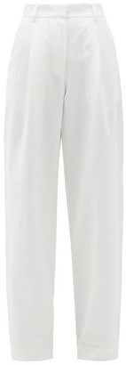 Matteau High-rise Cotton-blend Wide Leg Trousers - White