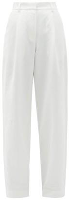 Matteau High-rise Cotton-blend Wide Leg Trousers - White