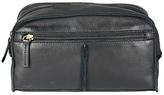 John Lewis Raw Edge Leather Wash Bag, Black