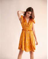 Express floral shirred satin midi dress