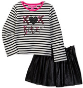 Betsey Johnson Sequin Embroidered Striped Tee & Laser Cut Pleather Skirt Set (Little Girls)
