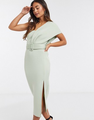 ASOS DESIGN one shoulder belted midi pencil dress in sage