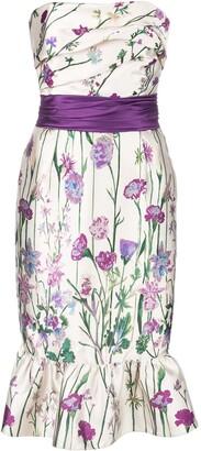 Marchesa Notte Floral Print Strapless Dress