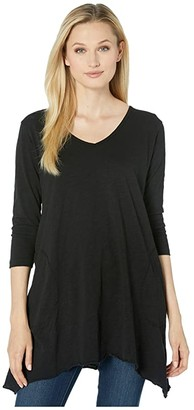Mod-o-doc Slub Jersey 3/4 Sleeve V-Neck Tunic with Pockets (Black) Women's T Shirt