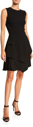 Oscar de la Renta Sleeveless Asymmetrical Short A-Line Dress