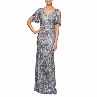 Alex Evenings Women's Petite Long V-Neck Fit and Flare Dress Lace
