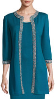 St. John 3/4-Sleeve Santana Knit Long Jacket, Blue Pattern
