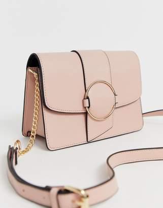 Asos Design DESIGN ring detail cross body bag-Pink