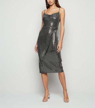 New Look Blue Vanilla Sequin Cowl Neck Midi Dress