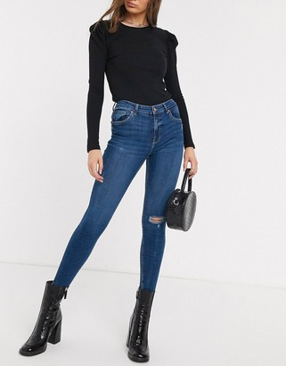 Bershka high waist skinny jean in dark blue with knee rip