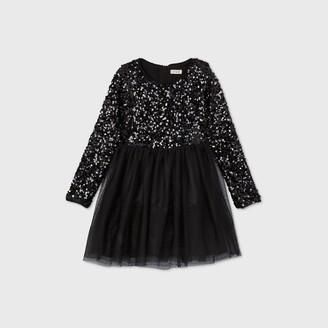 Cat & Jack Girls' Long Sleeve Sequin Tulle Dress - Cat & JackTM