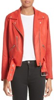 Veda Women's Cal Leather & Linen Moto Jacket