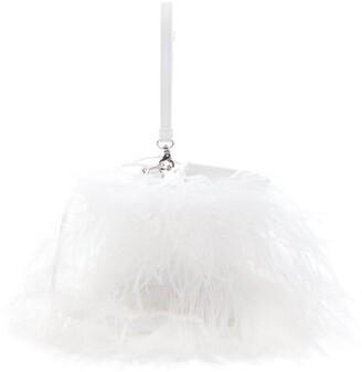 Marques Almeida Marques'almeida - Feather-embellished Leather Cross-body Bag - Womens - White