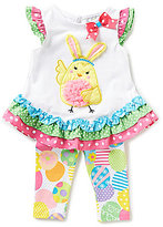 Rare Editions Baby Girls 3-24 Months Easter Mixed-Media Top & Easter Egg Print Leggings Set