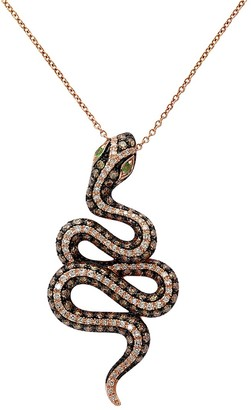 Effy 14K Rose Gold Two-Tone Diamond Snake Pendant Necklace