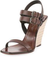 Saint Laurent Leather Wedge Espadrille Sandal