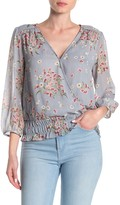 Collective Concepts Long Sleeve Smocked Floral Blouse