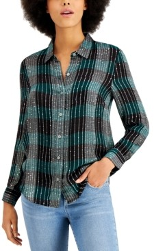 Style&Co. Style & Co Petite Sparkle Plaid Shirt, Created for Macy's