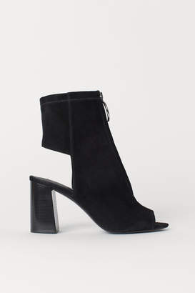 H&M Open Suede Ankle Boots - Black