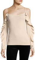 Club Monaco Lesley Cold-Shoulder Ruffle-Sleeve Crepe Top
