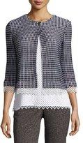 St. John Lace-Trim Textural Grid Knit Jacket, Caviar/Bianco