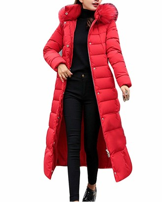 ZIXING Fashion Ladies Warm Coat Faux Fur Hooded Padded Quilted Zip Up Puffer Jacket Coat Long Overcoat Red M