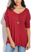 Everest Red Ribbed V-Neck Sweater - Plus Too